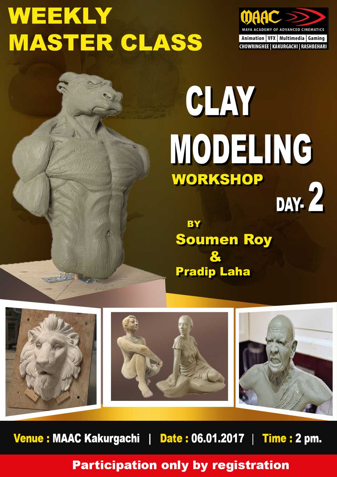 Weekly Master Class on Clay Modelling Day-2 - Soumen Roy & Pradip Laha