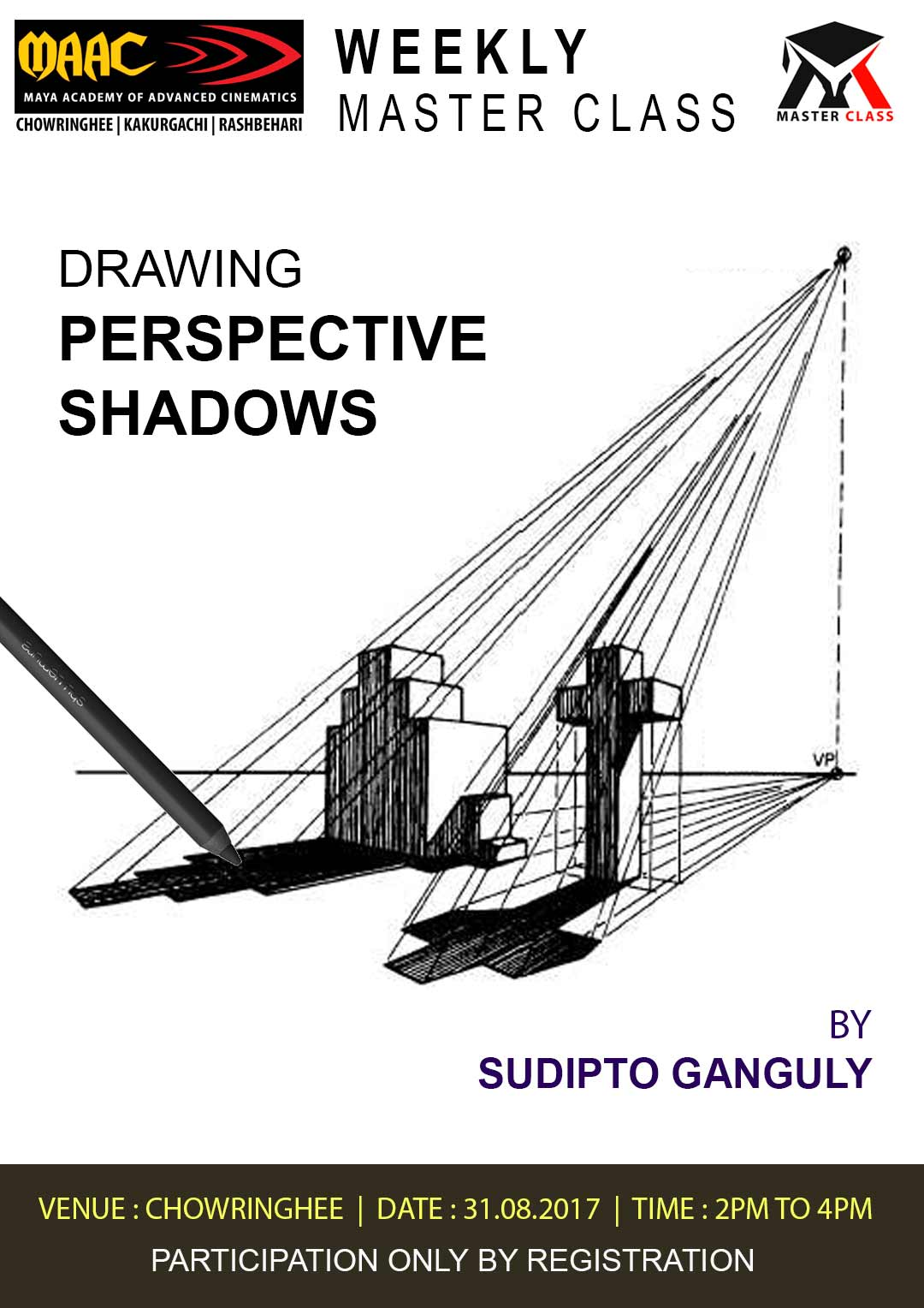 Weekly Master Class on Drawing Perspective Shadows - Sudipto Ganguli