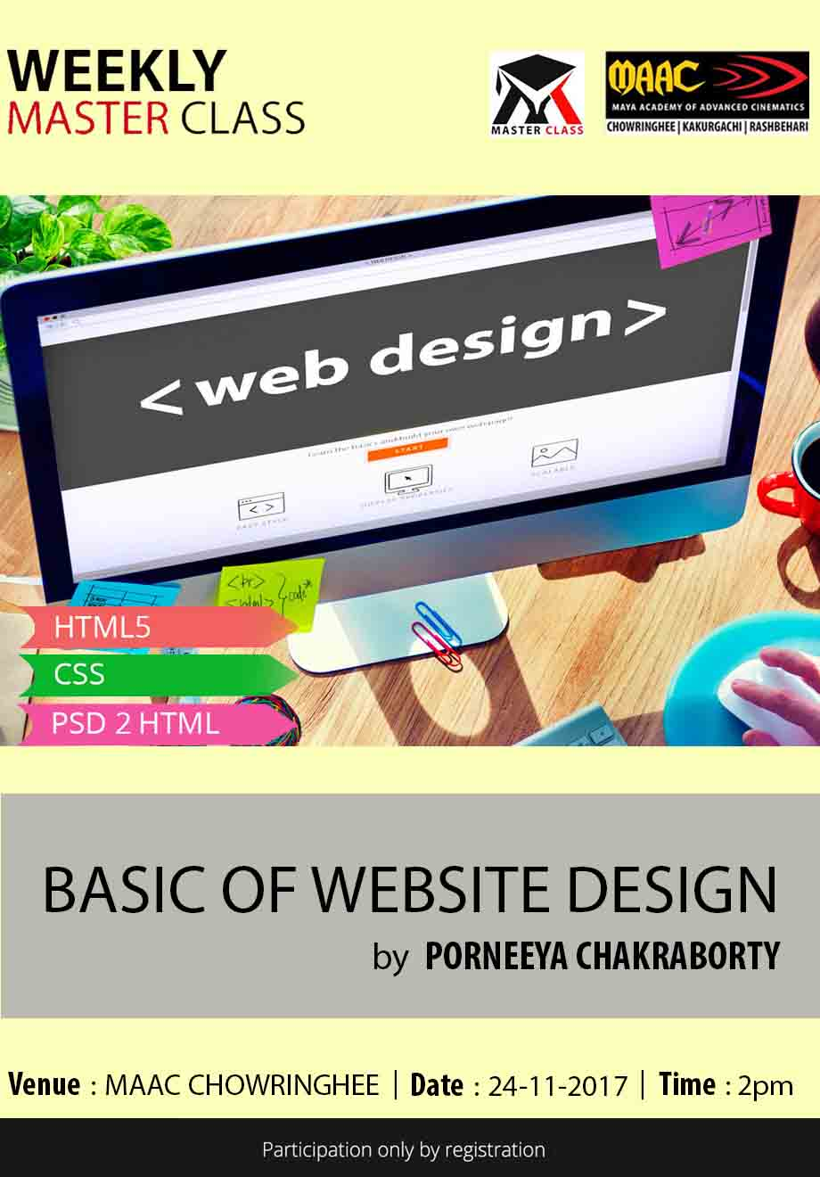 Weekly Master Class on Basics Of Website Designing