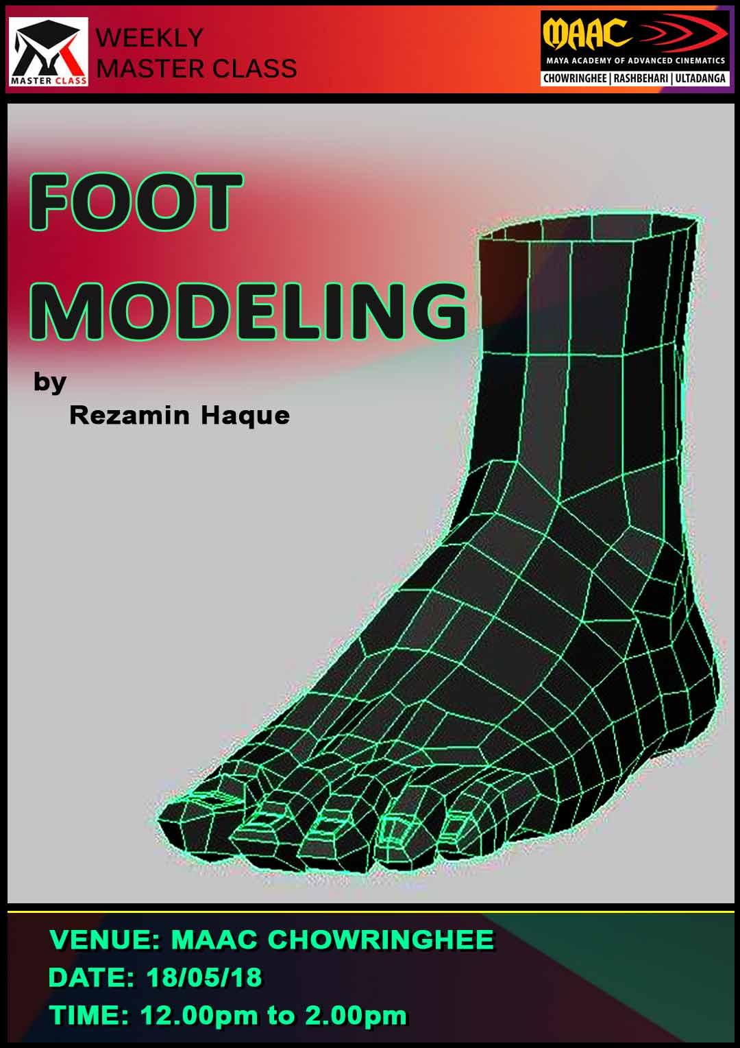 Weekly Master Class on Foot Modeling