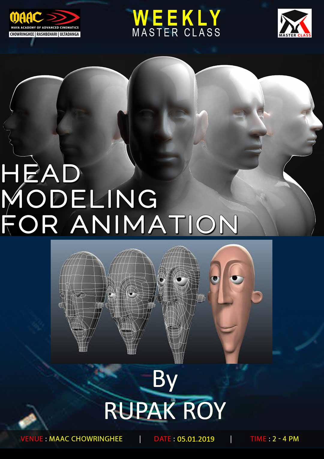 Weekly Master Class on Head Modeling for Animation