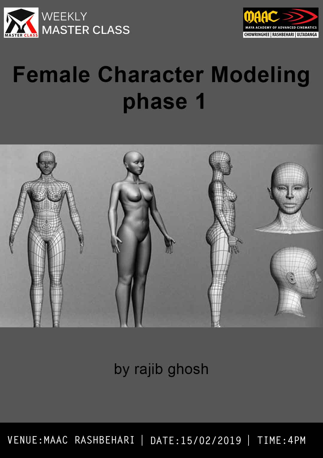 Weekly Master Class on Female Character Modeling Phase 1