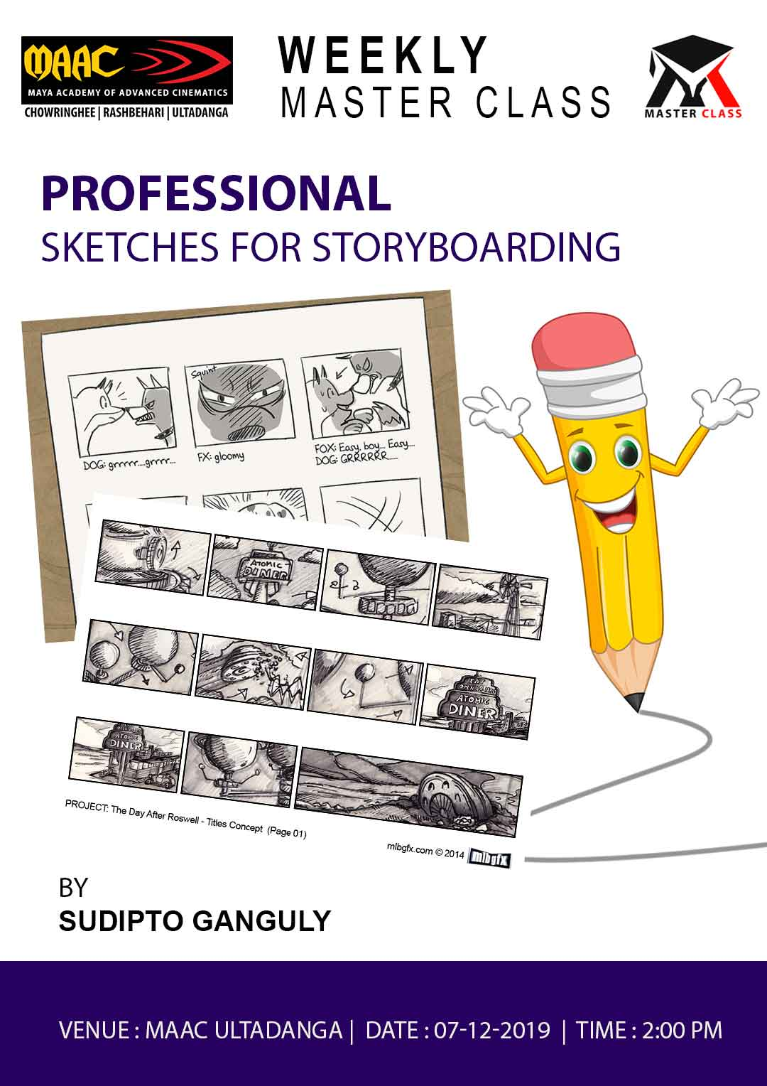 Weekly Master Class on Professional Sketching for StoryBoarding