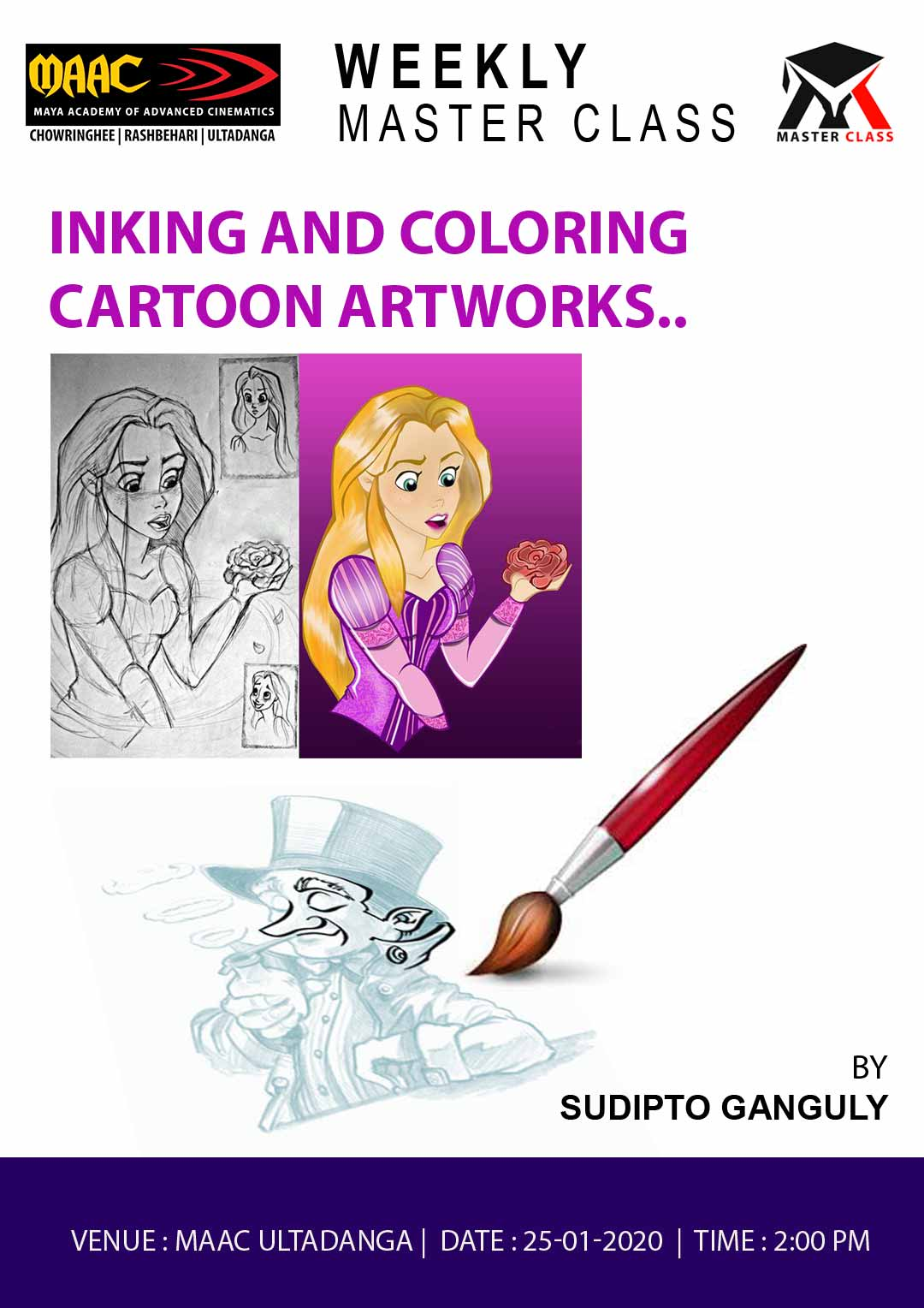 Weekly Master Class on Inking  & Coloring Cartoon Artworks